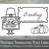 "Printable Thanksgiving Place Cards, ""You Color"" Pilgrims and Native Americans Set, Instant Download"