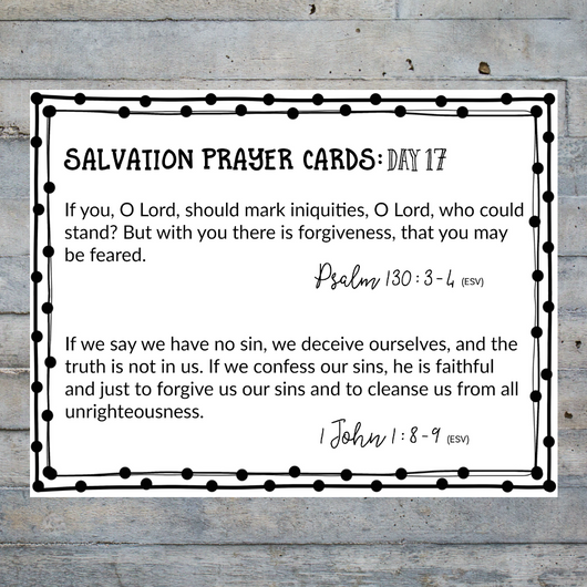 photo relating to Abc of Salvation Printable called Salvation Prayer Playing cards for Mom and dad Slim Gate Prints