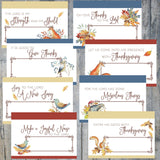 Printable Thanksgiving Place Cards, Woodland Watercolor Set, Instant Download