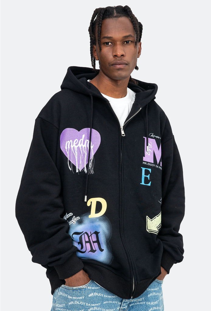 Frayed Heart Zip Up Hoodie - INTL Collective