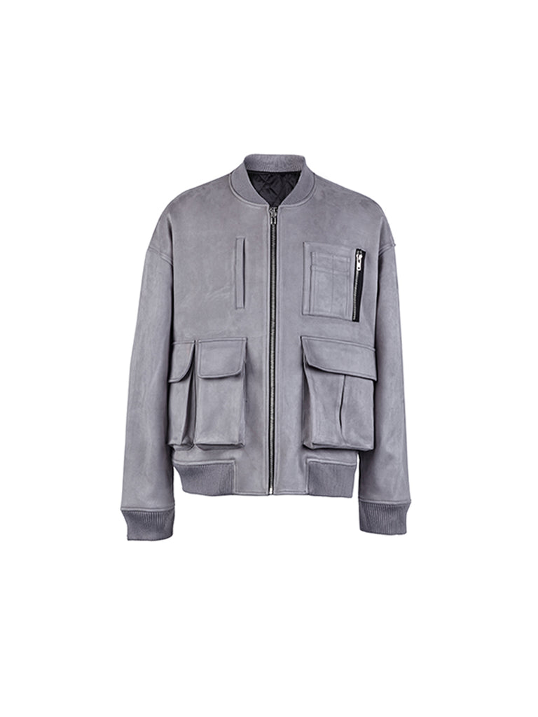Suede Bomber Jacket - INTL Collective