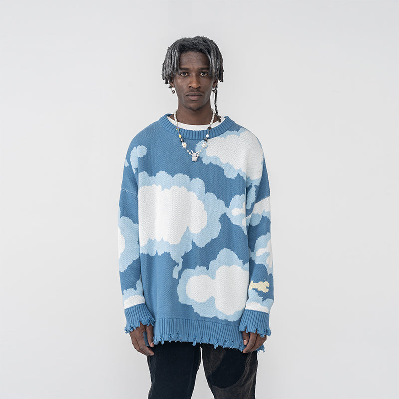 Cloudy Days Distressed Sweater - INTL Collective