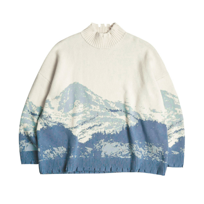 Snow Mountain Distressed Turtleneck - INTL Collective