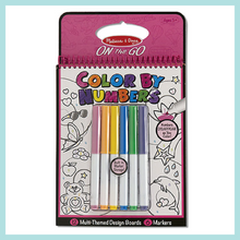 On the Go Color by Numbers Kids' Design Boards With 6 Markers - Unicorns, Ballet, Kittens, and More