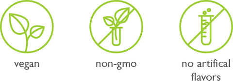 vegan, non-gmo, no artificial flavors symbols