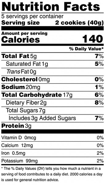 nutrition facts for chocolate chip crisp