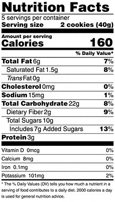 nutrition fact for coconut crisp