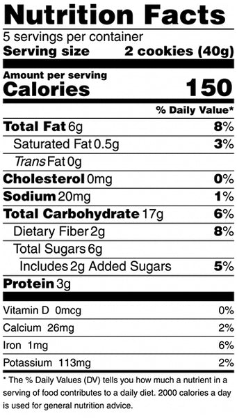 nutrition fact for honey almond crisp