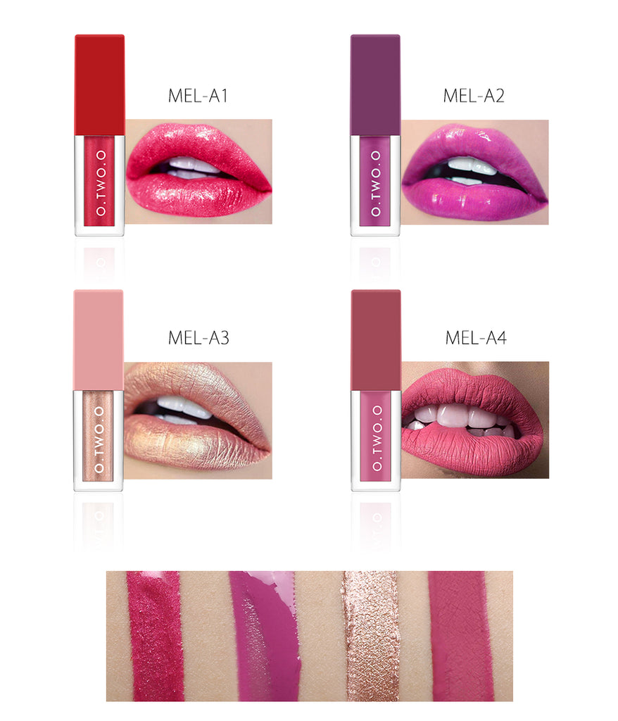 4 Colors /Set Soft Glossy Shimmering & Matte Liquid Lipstick