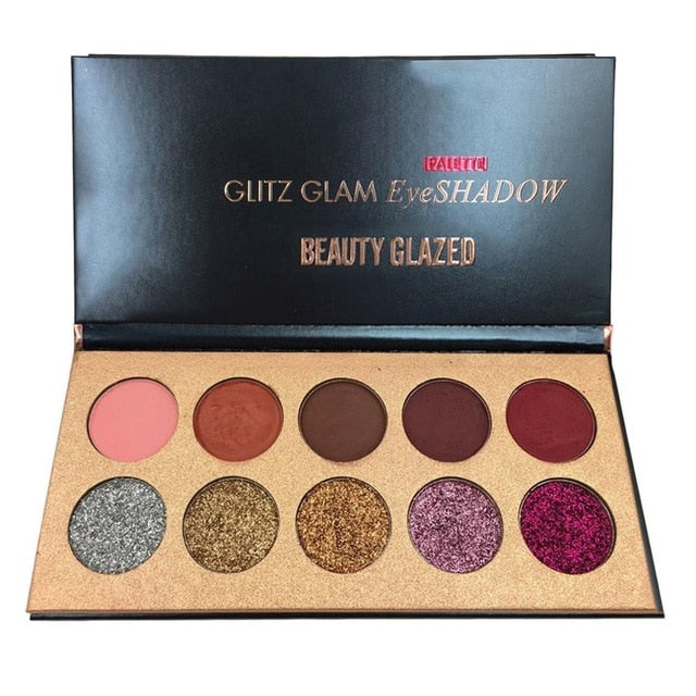 Beauty Glazed 10 Colors Shimmer Glitter Matte Eyeshadow Palette