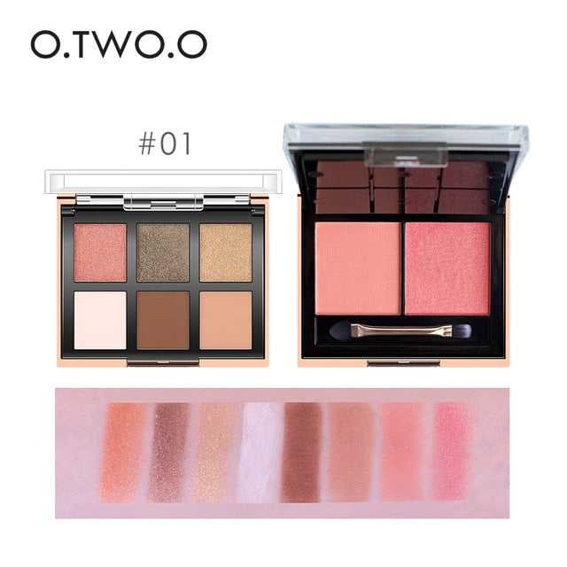 EYESHADOw-6 Colors palette+2 Colors Blusher Palette