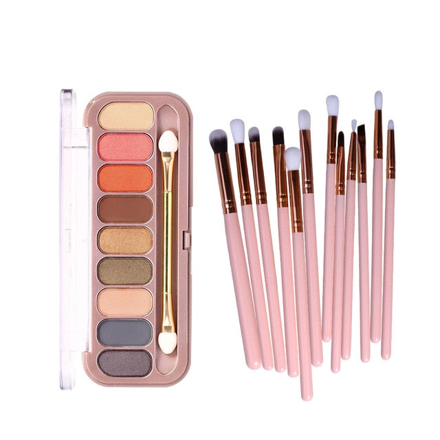 EYESHADOW-9 Color Palette With 11 pcs Makeup Brushes