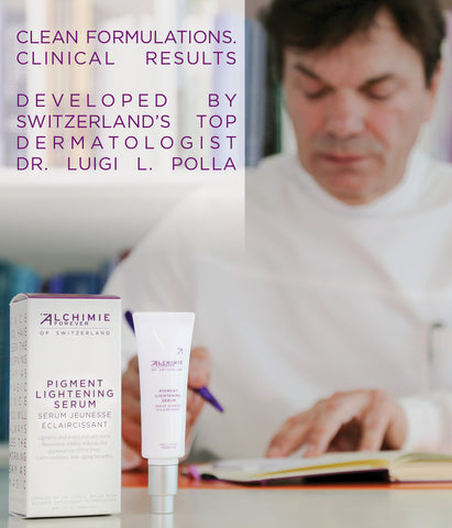 Dr. Luigi L. Polla developing product formulations and Alchimie Forever Pigment lightening serum