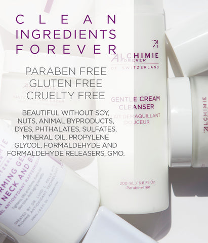 Alchimie Forever uses clean ingredients, is gluten free, cruelty free, paraben free, etc.