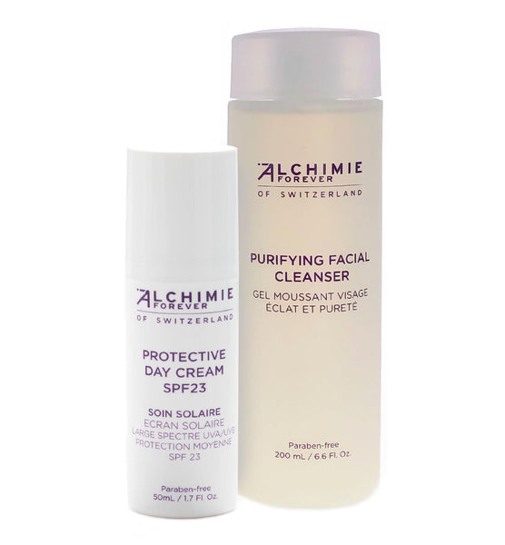 Alchimie Forever Purifying Facial Cleanser & Protective Day Cream SPF23 bundle for normal to oily skin