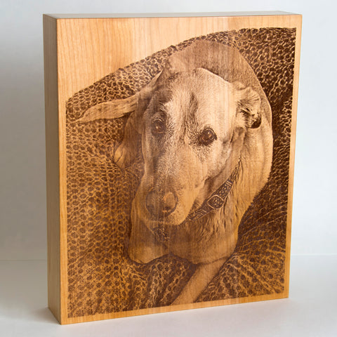 Small Saints custom laser engraved portrait pet urn