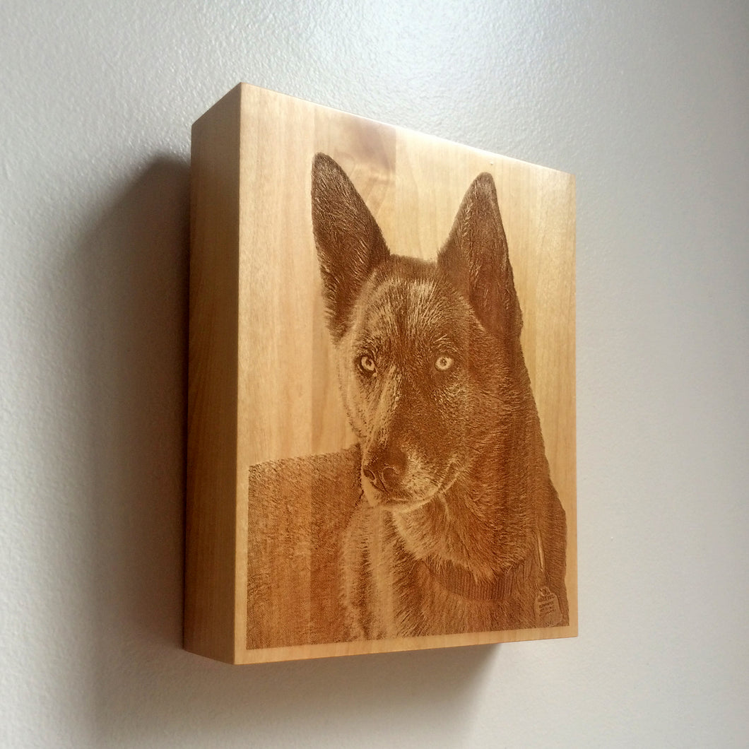 Pet Urn - custom laser engraved portrait