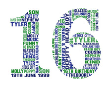 Personalised Coming of age (any age available) Number Birthday Word Art Gift