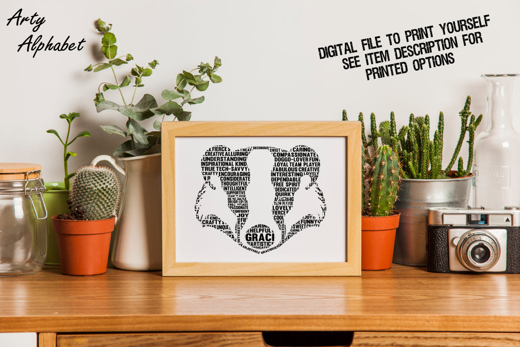 Personalised Badger Shaped Word Art Gift