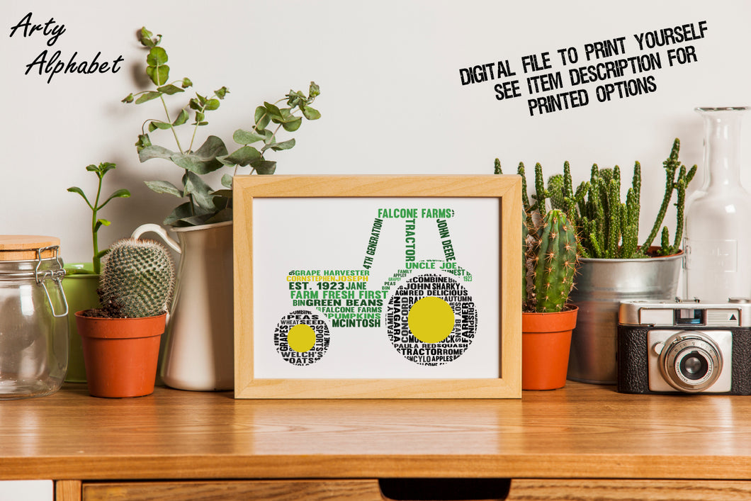 Personalised Tractor Word Art Gift