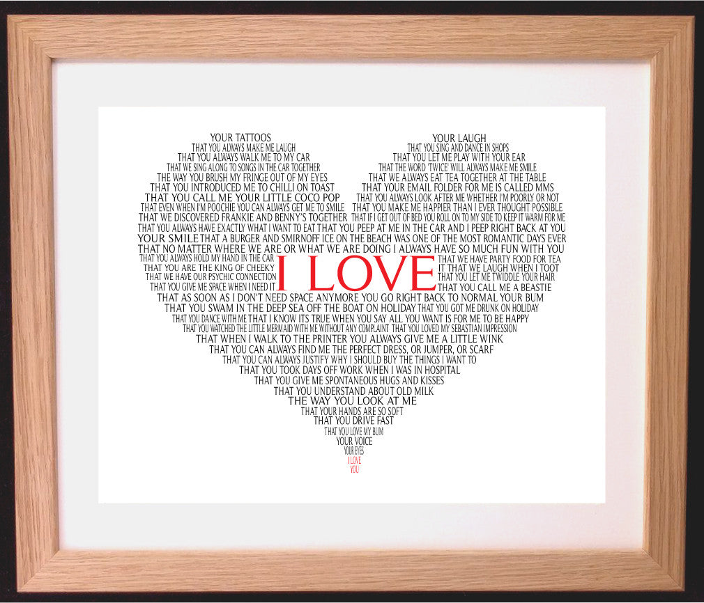 Personalised I Love... Heart Shaped Word Art Gift