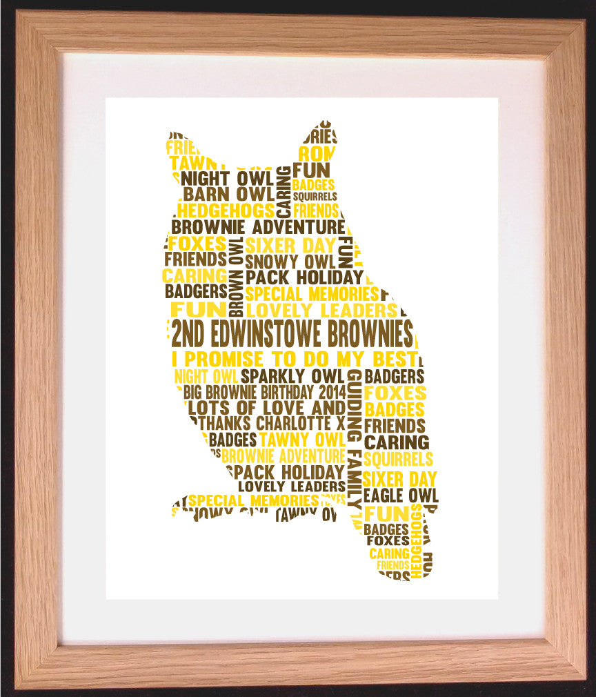 Personalised Owl Shaped Word Art Gift