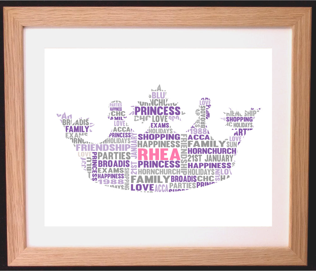 Personalised princess crown with name weight and weeks born
