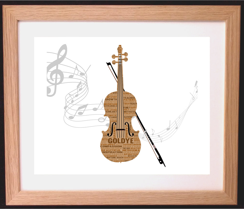 Personalised Violin Word Art Gift - Music / Teacher Appreciation