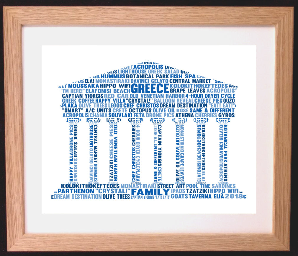 Personalised Greek Ruin Parthenon Old Building Word Art Gift