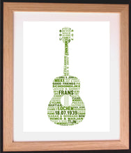 Personalised Guitar Word Art Gift - ideal for music lovers or teachers