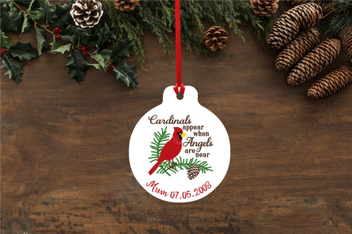 Personalised Memorial Quote Bauble - Cardinals appear when angels are near