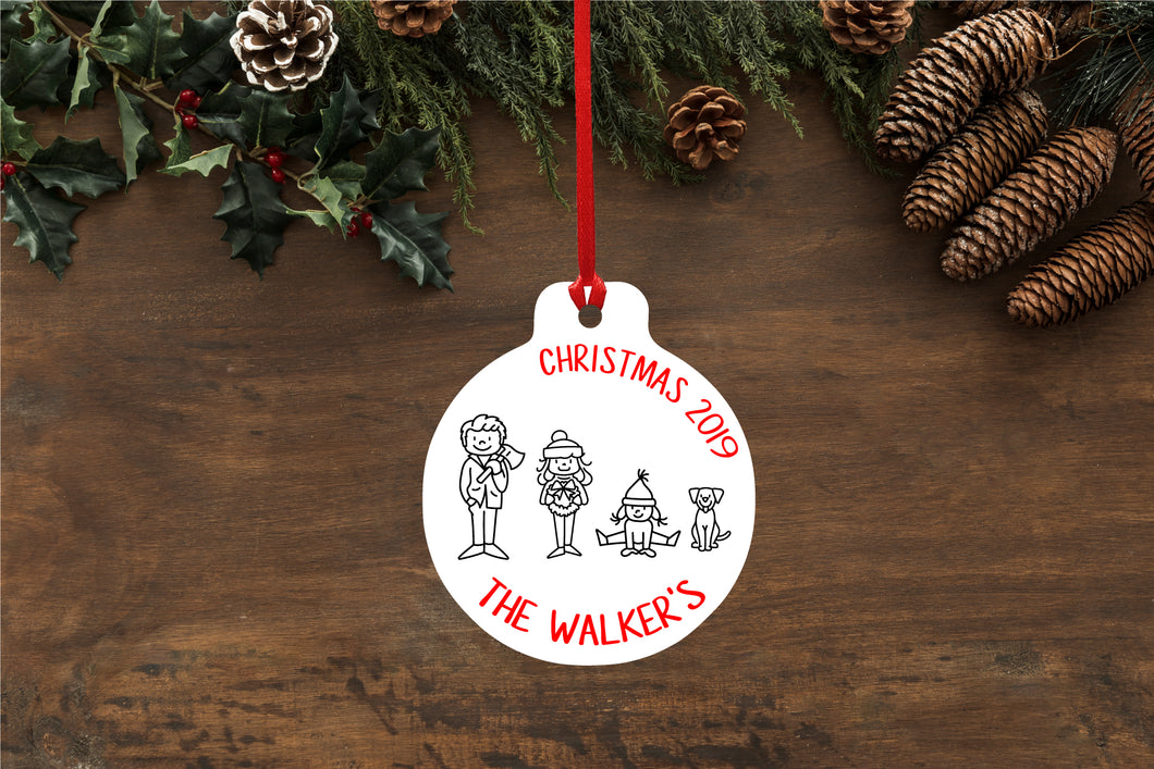 Personalised Hand Drawn Family Bauble - pick your own...