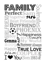 Personalised Memories Word Block Art Gift