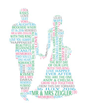 Personalised Bride and Groom Shaped Wedding Word Art Gift