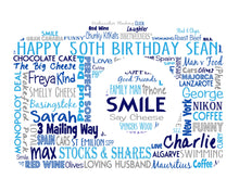Personalised Camera Shaped Birthday Word Art Gift