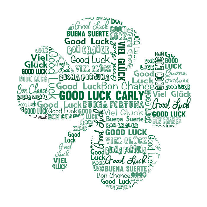 Personalised Good Luck Clover Word Art Gift Arty Alphabet