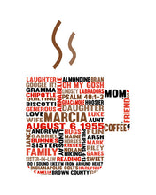Personalised Coffee Mug Word Cloud Art Gift
