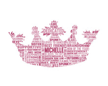 Personalised Princess Crown Shaped Word Art Gift