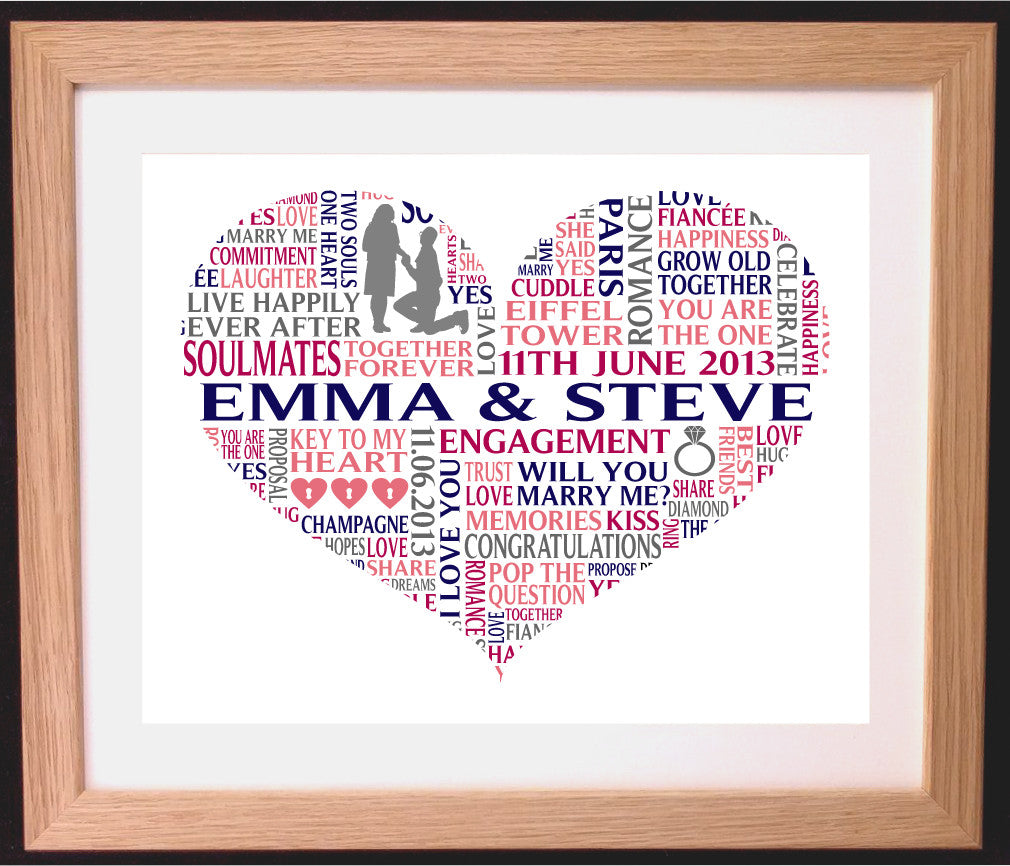 Personalised Heart Shaped Engagement Word Art Gift