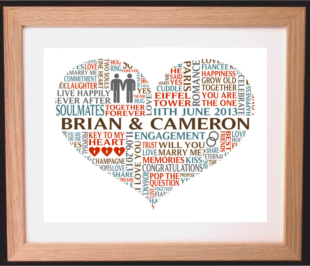 Personalised Heart Shaped Gay Engagement Word Art Gift