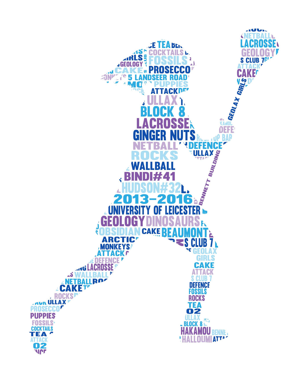 Personalised female lacrosse player word art gift arty alphabet personalised female lacrosse player word art gift gumiabroncs Images