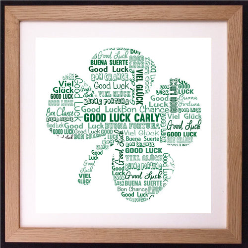Personalised Good Luck Clover Word Art Gift