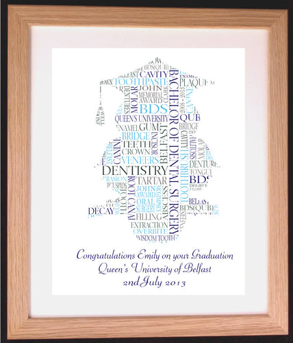 Personalised Owl with Mortar Board Graduation Word Art Gift