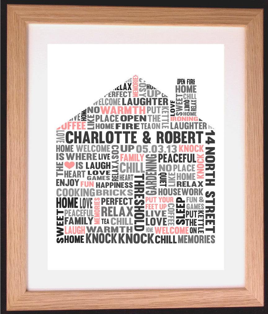 Personalised House Shaped Word Art Gift