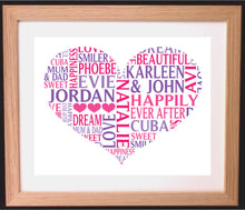 Personalised Heart Shaped Word Art Gift