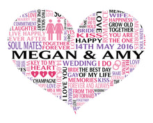 Personalised Heart Lesbian Civil Ceremony / Wedding Word Art Gift