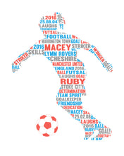 Personalised Female Football Player Word Art Gift