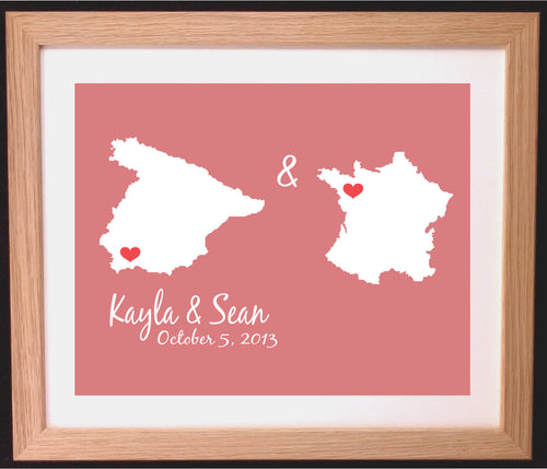 Bespoke Love Heart Two Places Map Art Gift