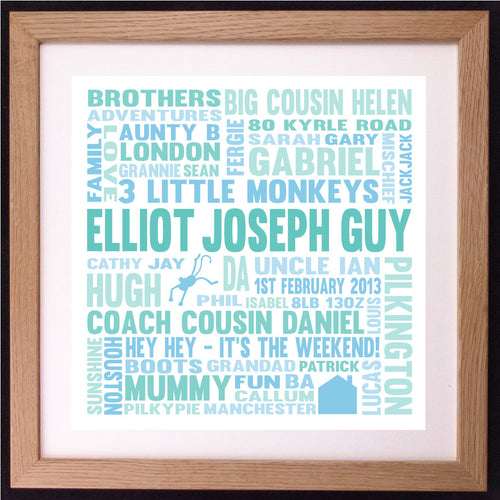 Personalised Memories Favourite Moments Square Block Word Art Gift
