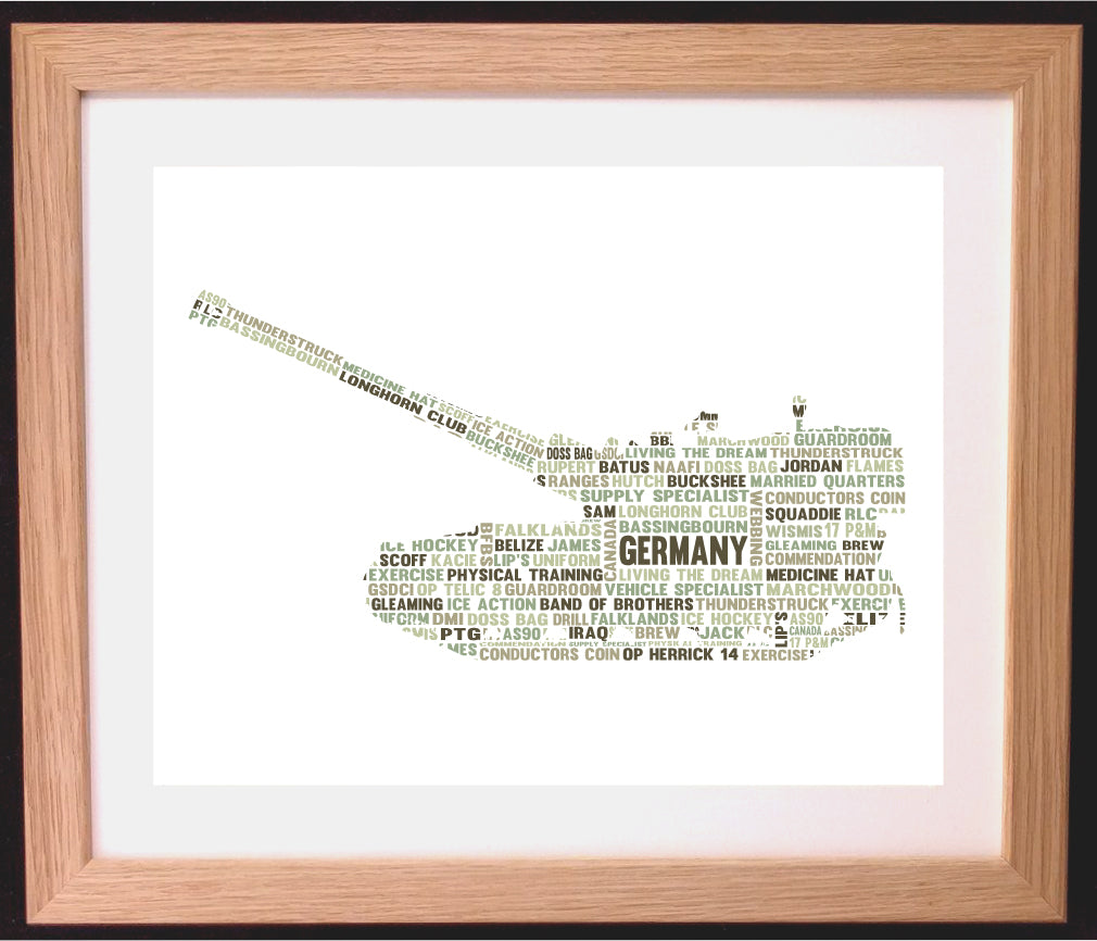 Personalised Army Tank Soldier War Word Cloud Art Gift– Arty Alphabet